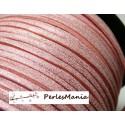 10 m de cordon en suédine aspect daim rose pale PS1410 effet pailleté qualité