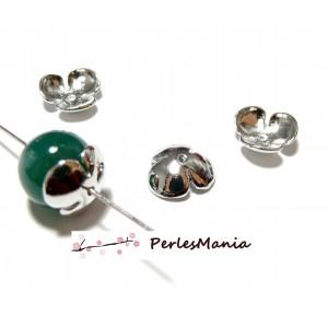 Apprêt pour bijoux: 4 coupelles coquille calottes grandes fleur OB13041 ARGENT PLATINE