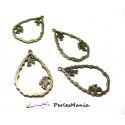 10 pendentifs goutte zen BRONZE 2Y6408 pour création de bijoux