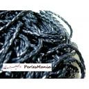 Apprêt bijoux: 2 m fil tressé simili cuir  bleu nuit P5014 diamètre 3mm