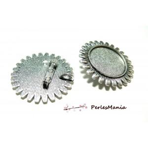 Apprêt bijoux 1 pendentif broche multi fonction Tournesol ref230 Vieil argent