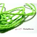 Apprêt bijoux: 2 m fil tressé simili cuir  vert fluo P5059 diamètre 3mm