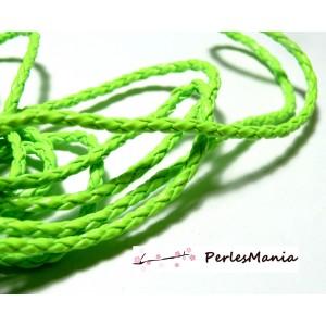 Apprêt bijoux: 10 m fil tressé simili cuir vert fluo P5059 diamètre 3mm