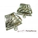 Apprêt bijoux: 1 magnifiques bélières 2B3957 Hibou accroche foulard Vieil Argent