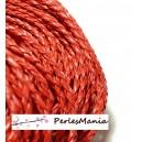 Apprêt bijoux: 10 m fil tressé simili cuir rouge P5001 diamètre 3mm