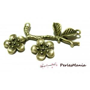 1 grand pendentif connecteur cerisier en fleur bronze ref188 fournitures pour création bijoux