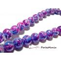 10 perles de verre multicolores violet 12mm PR02601 scrapbooking pour bijoux