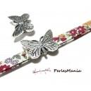 10 slides passants Papillon Vieil argent  P4818 Apprêt pour création de bijoux