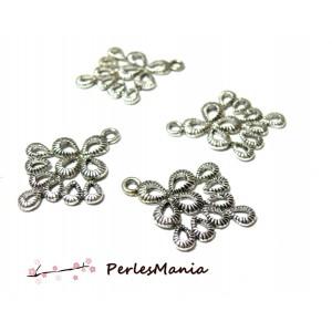 10 pendentifs Multi connecteur Paon Vieil argent 2B7905 pour création de bijoux