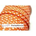 1 m ruban biais spaghetti à pois orange 7mm ref: 70480-95 mercerie cordon pour bijoux