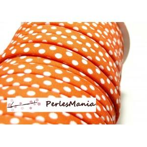 1 m ruban biais spaghetti à pois Orange 10mm ref: 70480-95 mercerie cordon pour bijoux
