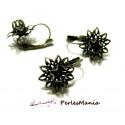 2 Supports de magnifique Boucle d'oreille fleur 3D dormeuse  Bronze  accessoire bijoux