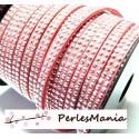 1m de cordon de suédine cloutée argent aspect Daim double rangée facettée ROSE PALE P00506