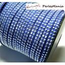 1m de cordon de suédine cloutée argent  aspect Daim double rangée facettée Bleu nuit P00509