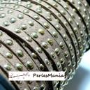 1 mètre de cordon de suédine cloutée doré aspect Daim Marron clair  PR00212