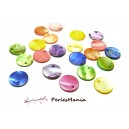 Apprêt 20 pendentifs nacre coquillage sequins epais ref P15M  multicolore