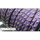 3 mètre de cordon de suédine cloutée doré aspect Daim Violet PR00208