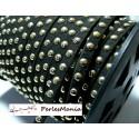 3 mètre de cordon de suédine cloutée doré aspect Daim Noir PR00213