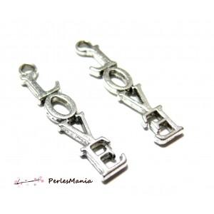 40 pendentifs love P23518 Viel argent fournitures pour bijoux