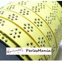 3 mètre de cordon de suédine fleur cloutée doré aspect Daim Jaune clair  PL108