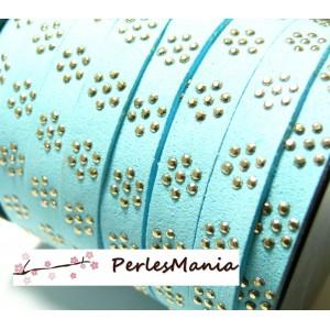 3 mètres de cordon de suédine fleur cloutée doré aspect Daim Bleu ciel PL109