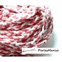 3 mètre de cordon de suédine tressé  aspect Daim Rose P202 accessoire pour bijoux