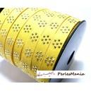 1 mètre de cordon de suédine fleur cloutée doré aspect Daim JAUNE PL103