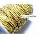 1m de cordon de suédine cloutée doré aspect Daim double rangée facettée Jaune P00405