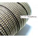 1m de cordon de suédine cloutée doré aspect Daim double rangée facettée Marron P00412