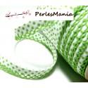 1 m ruban biais dentelle Pois vert clair et blanc 12mm ref 71486 couleur 456
