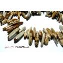 20 Perles Tige JASPE PAYSAGE environ 8 à 20mm pour création de bijoux