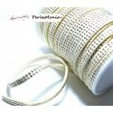 3m ruban cordon de suédine cloutée doré aspect Daim double rangée facettée Crème P00402