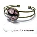 2 pièces: 1 support de bracelet  qualité 14mm  bronze et 1 cabochon en verre