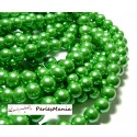 30 perles de verre nacré VERT 8mm 2G5602 fournitures pour bijoux