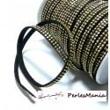 3m ruban cordon de suédine cloutée doré aspect Daim double rangée facettée Noir P00407