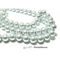 1 fil d'environ 110 perles de verre nacré GRIS ARGENTES 8mm PB18