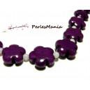 Perles et pierres: 5 perles  fleurs jade teintée 5 pétales couleur violet 16mm