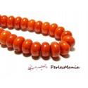 Perles pour bijoux:  10 Rondelles 8 par 12mm Magnésite Orange