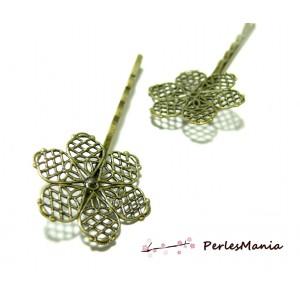 10 supports de barrette fleurs dentelle Plates 28mm 2M3113 accessoire bijoux