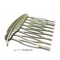 1 peigne plume accessoires cheveux 52mm barrettes en bronze