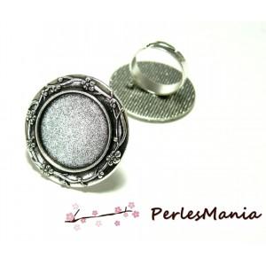 10 bagues ARTY Multi Fleurs qualité 20mm Vieil argent ref152 materiel pour création de bijoux