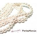 1 fil d'environ 140 perles de verre nacré Rose poudre 6mm PB22
