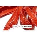 OFFRE SPECIALE: 4,5 mètre cordon  ruban gros grain bi face surpiqué rouge 10 mm ref 63