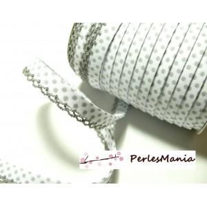 1 m ruban biais dentelle Pois gris et blanc 12mm ref 71486 couleur 408
