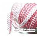 1 m ruban biais dentelle Pois rose et blanc 12mm ref 71486 couleur 432
