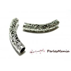 Apprêts et perles: 1 perle intercalaire GRAND TUBE ETHNIQUE 2B4533 Vieil argent