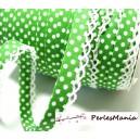 1 m ruban biais dentelle Pois vert et blanc 12mm ref 71486 couleur 88