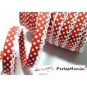 1 m ruban biais dentelle Pois Rouge et blanc 12mm ref 71486 couleur 46