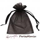 10 pochettes organza Noire PM ( 50 par 70mm ) pour bijoux , baptême, mariage