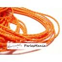 Apprêt bijoux: 10 m fil tressé simili cuir Orange fluo P5066 diamètre 3mm